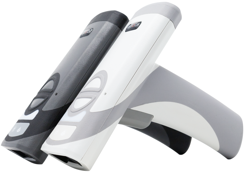 Side view of the Code CR2700 Scanner (dark and light versions)